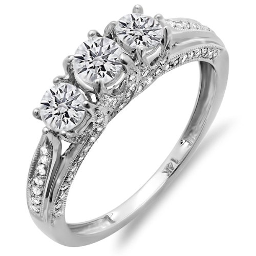 1.00 Carat (ctw) 14K White Gold Diamond Vintage Bridal 3 Stone Engagement Ring 1 CT (Size 7.5)