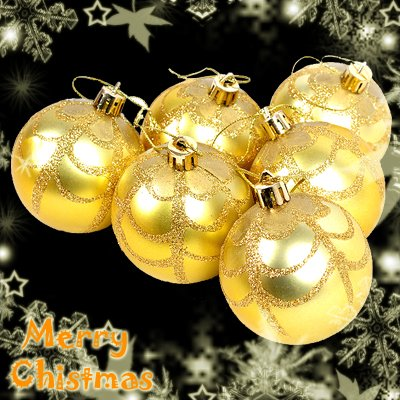 6 x Gold Christmas Decorations Baubles Balls