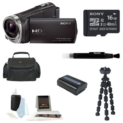 Sony Hdr-Cx330/B Hdrcx330 Cx330 Full Hd Handycam Camcorder (Black) + Sony 16Gb Class 10 Micro Sd Card + Focus Soft Photo And Video Medium Case + Spare High Capacity Battery + Focus 5 Piece Digital Camera Accessory Kit + Accessory Kit