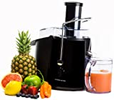 Andrew James Professional Whole Fruit Power Juicer In Piano Black, 990 Watts With Juice Jug And Cleaning Brush
