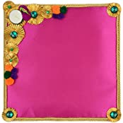 Festivities Satin Decorative Tray (28 Cm X 24 Cm X 28 Cm, FE06)