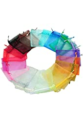 100pc 5x7 Inches Organza Mixed Colors Jewelry Pouch Bags Display