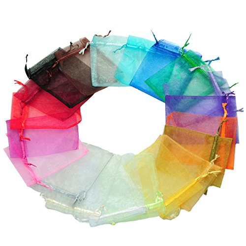 100pc 5×7 Inches Organza Mixed Colors Jewelry Pouch Bags Display