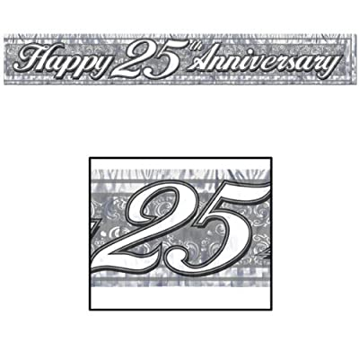 Metallic 25th Anniversary Fringe Banner (silver) Party Accessory (1 count) (1/Pkg)
