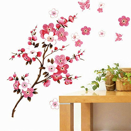 EasyKan Vinyl Wall Decal Stickers,Pink Color Cherry Blossom Tree,Removable &Easy to apply Wall Decoration from EasyKan