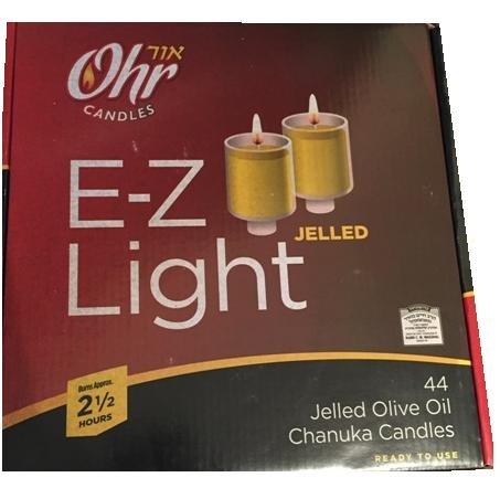 Ohr Candles E-z Light 44 Jelled Olive Oil Chanukah Candles