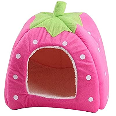 Tping Foldable Cute Strawberry Style Pet Cat Dog Doggy Puppy Soft Nest House Bed Kennel Cushion Basket with Warm Plush Pad
