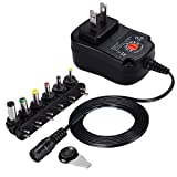 SoulBay 12W Universal Charger AC/DC Adapter Switching Power Supply with 6 Selectable Adapter Plugs, Suitable for 3 V to 12 V Device