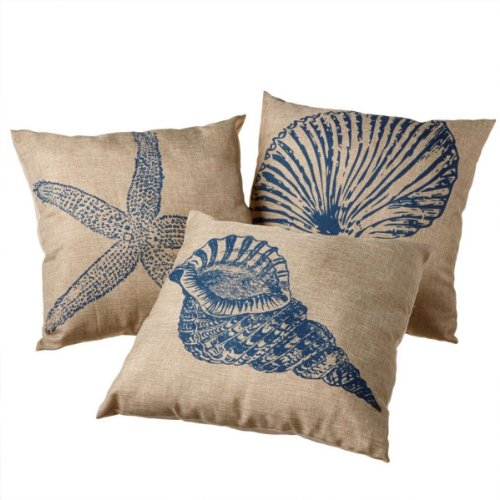 Set Of 3 Tropical Coastal Sea Shell Blue And Tan Square Decorative Throw Pillows front-612410