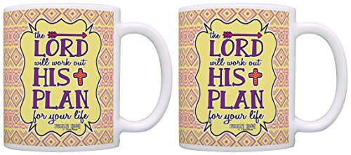 Christian Gifts Psalm 138:8 Bible Verse Motivational 2 Pack Gift Coffee Mugs Tea Cups Aztec Pattern (License Plate Frame Motivational compare prices)