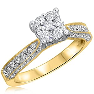 3/4 CT. T.W. Diamond Ladies Engagement Ring 14K Yellow Gold- Size 12.25