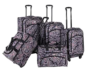 American Flyer Luggage Paisley 5 Piece Set Spinner, Black, One Size
