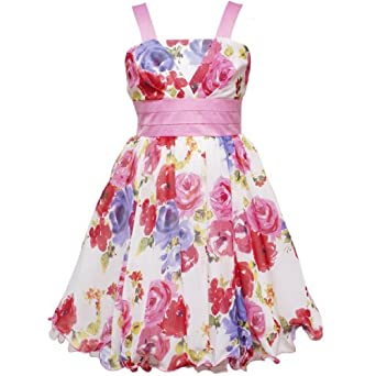 Size-10 RRE-57632E PINK PURPLE YELLOW MULTI FLORAL V-PLEAT BODICE WIRE HEM CHIFFON Special Occasion Flower Girl Party Dress,E457632 Rare Editions 7-16