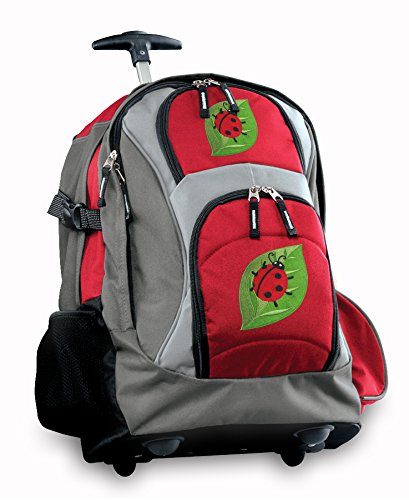 Cute Ladybugs Rolling Backpack Deluxe Red Backpacks Bags With Wheels Or School