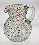Mexican Glass Margarita or Juice Pitcher, Pebble or Bumby Confetti, Bola or Bowl Shape Design