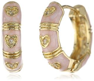 Little Miss Twin Stars Girls' Enamel Cubic-Zirconia Marbleized Pink Hearts Huggy Earrings