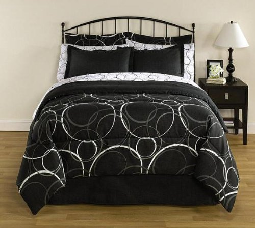 Black & White Circles & Polka Dots Modern Full Comforter Set (8 Piece Bed In A Bag) front-812957