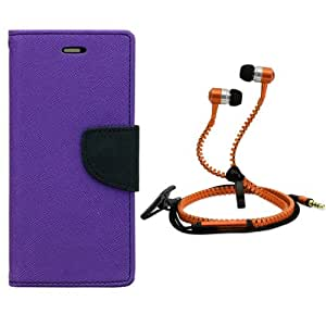 Aart Fancy Diary Card Wallet Flip Case Back Cover For HTC E9 Plus-(Purple) + Zipper Earphones/Hands free With Mic *Stylish Design* for all Mobiles By Aart store