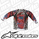 3761212 371 XXL - Alpinestars 2012 Charger Motocross Jersey XXL Red Cyan Black
