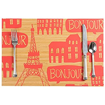 Bonjour Paris Retro Printed Bamboo Placemat Set - 4