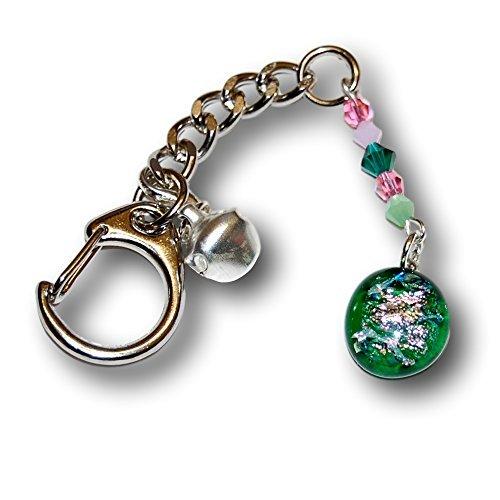 Pendente in vetro dicroico con Swarovski crystals. unico artisan portachiavi o borsa.