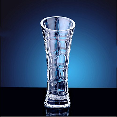 Thin Waist Twisted Stripe Bevel Mouth Crystal Glass Vase Cylinder Vase for Home Decoration in Home and Kitchen. (Clear) Large Carnival Glass