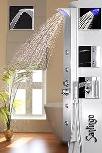 Silbernes LED Alu Duschpaneel Duschsäule mit Wasserfall und Massagedüsen silber Sanlingo  BaumarktKundenbewertung und Beschreibung