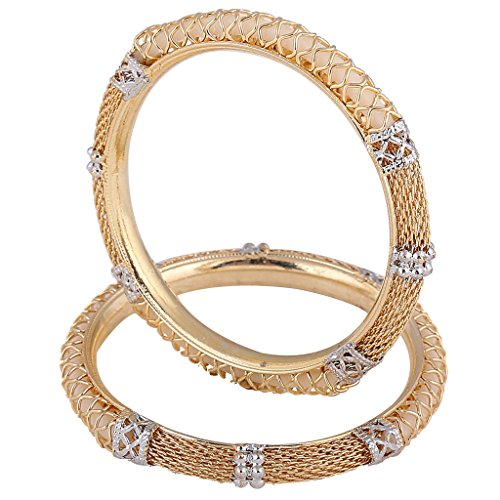 Net & Pipe Gold Platted Bangle