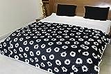 AURAVE Black Floral Reversible Cotton Dohar/Comforter - Single