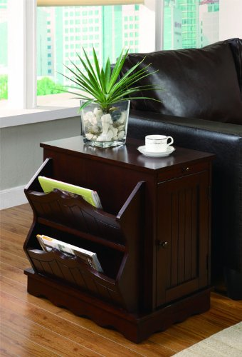 Cheap Cherry Finish End Table with Magazine Rack, Pull-Out Tray and Storage by Coaster Furniture (B006OJGMVW)