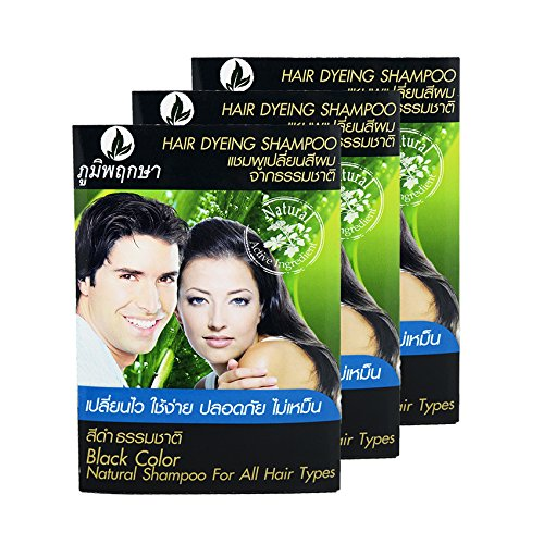 Hair Dyeing Shampoo Natural Herb No Ammonia Poompuksa Black color 3 pcs. (Loreal Dark Sides Of Gray compare prices)