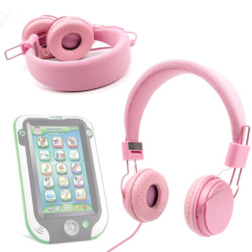 Duragadget Pink Ultra-Stylish Kids Fashion Headphones With Padded Design, Button Remote And Microphone For Leapfrog Leappad Ultra