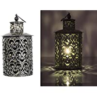 La Steela IronCrafted Round Candle Lantern With Handwork (20 Cm X 20 Cm X 33 Cm, Black)