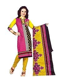Women's Cotton Unstitched Dress material (FE00010_Multi-coloured)