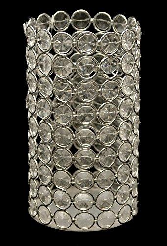 """Crystal Acrylic Diamond Beaded Candle Holder 6"""" Tall"""
