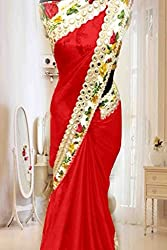Vinayak Textile Women's Red colored Pure Georgette Bollywood Party Wear Saree