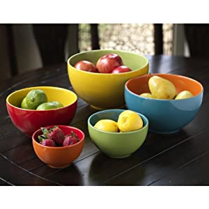 5 piece multi colored stoneware mixing bowl for Sur la table mixing bowls