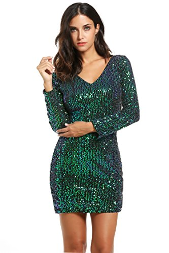 Meaneor Women's Sequin V-Neck Long Sleeve Bodycon Sheath Dress, Medium, Green