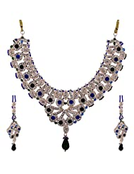 Lucky Jewellery Blue And Green Patwa Necklace Set With Mang Tika For Women