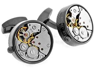 Tateossian Black Skeleton Gunmetal Plated Steampunk Gear Watch Mechanism Cufflinks