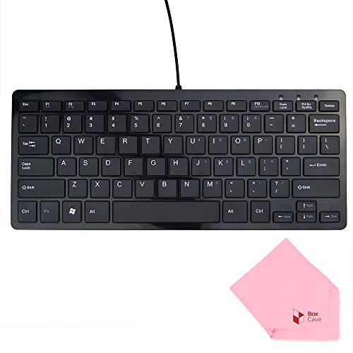 Boxcave 78 Key Wired USB Mini Slim Keyboard for PC, Mac, Notebook, Laptop, Netbook, PS3, Xbox360, Windows 8 7 XP Vista (Black,w/cable) (Portable Pc Keyboard compare prices)