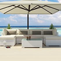 Hot Sale Uduka Outdoor Sectional Patio Furniture White Wicker Sofa Set Diani Off White All Weather Couch