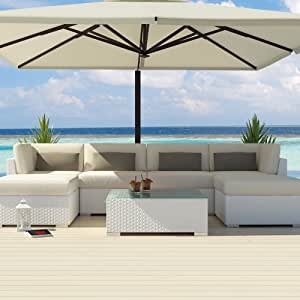 Uduka Outdoor Sectional Patio Furniture White Wicker Sofa Set Di