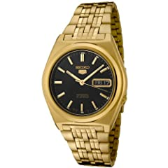 Seiko Men's SNK644 Seiko 5 Automatic Black Dial Gold-Tone Stainless Steel Watch