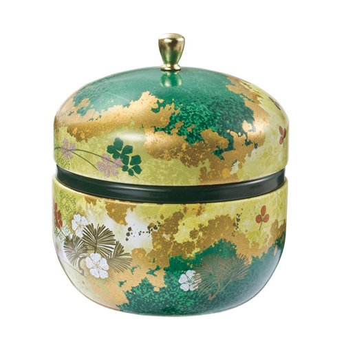 Japanese Tea Canister Suzuko - Flower (Green) 0