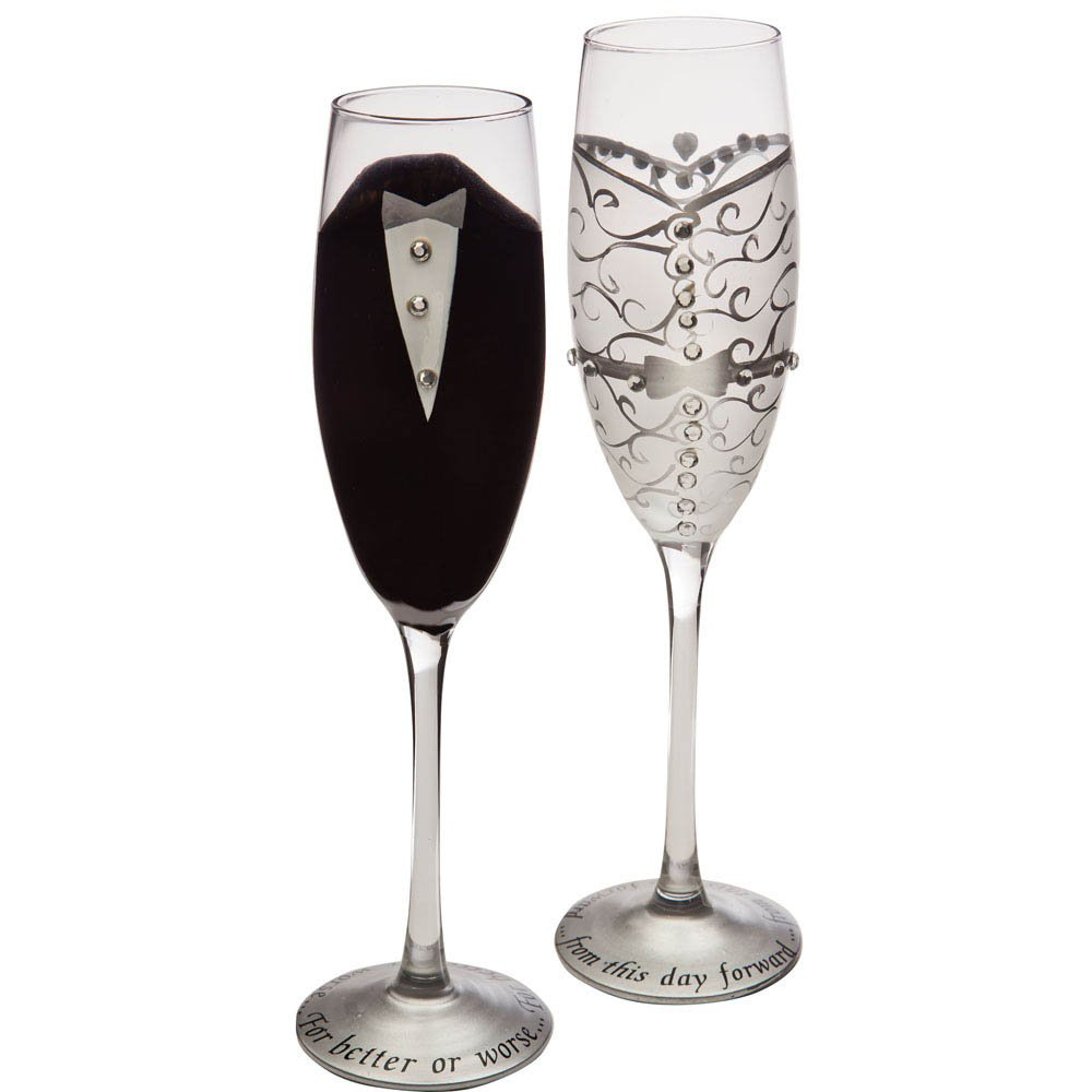 Set of 2 Handpainted Bride & Groom Champagne Toasting Flute Glasses