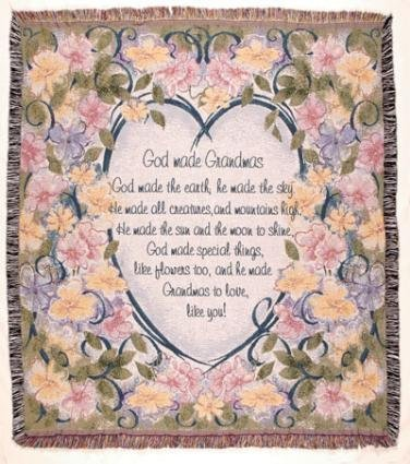 """God Made Grandmas"" Floral Tapestry Throw Blanket 50"" X 60"" front-879072"