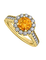 Citrine And CZ Halo Engagement Ring In 18K Yellow Gold Plated Vermeil Over Sterling Silver