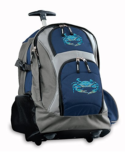 Blue Crab Rolling Backpack Deluxe Navy Blue Crab Backpacks Bags With Wheels Or