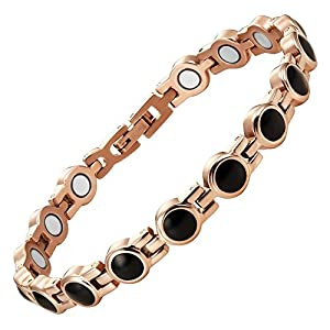 Willis Judd Womens Titanium Magnetic Bracelet with Black Enamel In Gift Box with Free Link Removal Tool